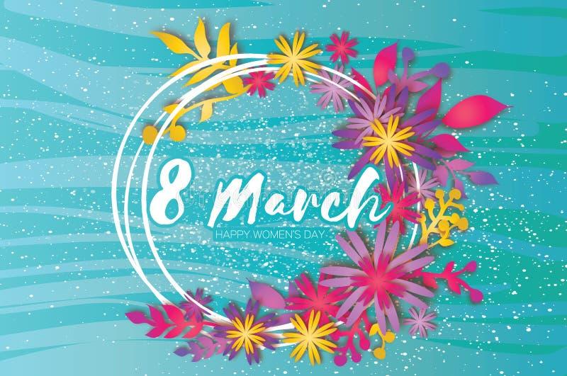 日愉快的母亲s 纸花圈花 3月8日 圈子框架 向量例证