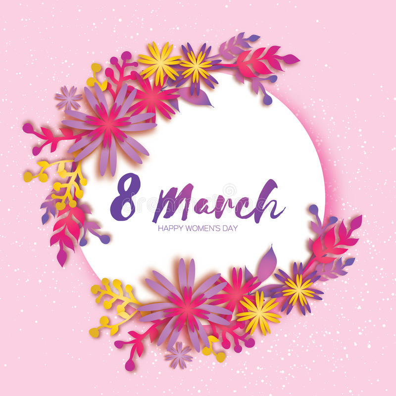 日愉快的母亲s 花纸粉红色 3月8日 圈子框架 皇族释放例证