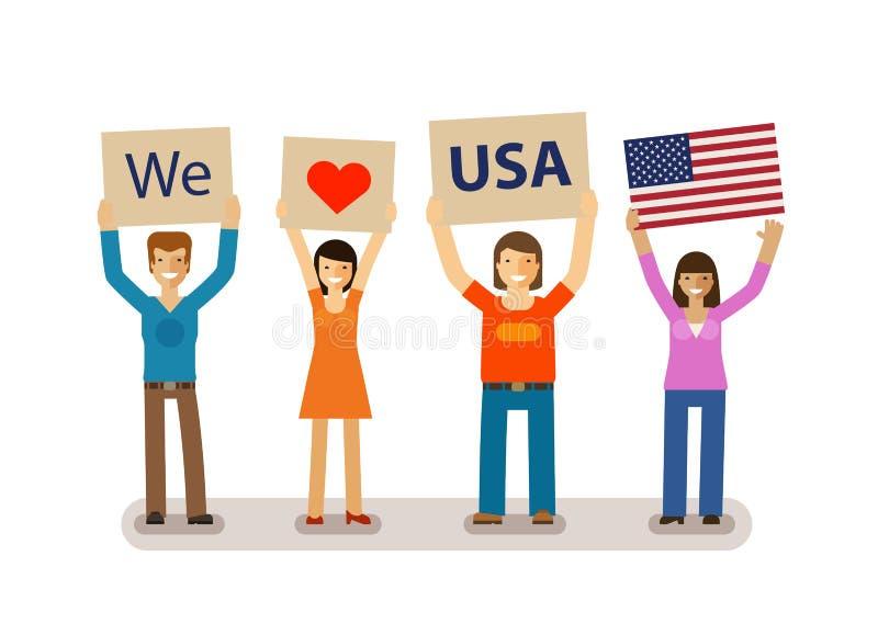 日愉快的独立 7月4日 美国国旗 爱美国 也corel凹道例证向量 库存例证