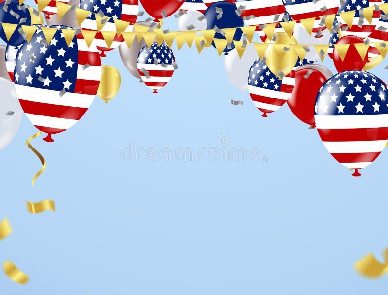 日愉快的独立 有文本的美国在减速火箭的背景 美国 库存例证