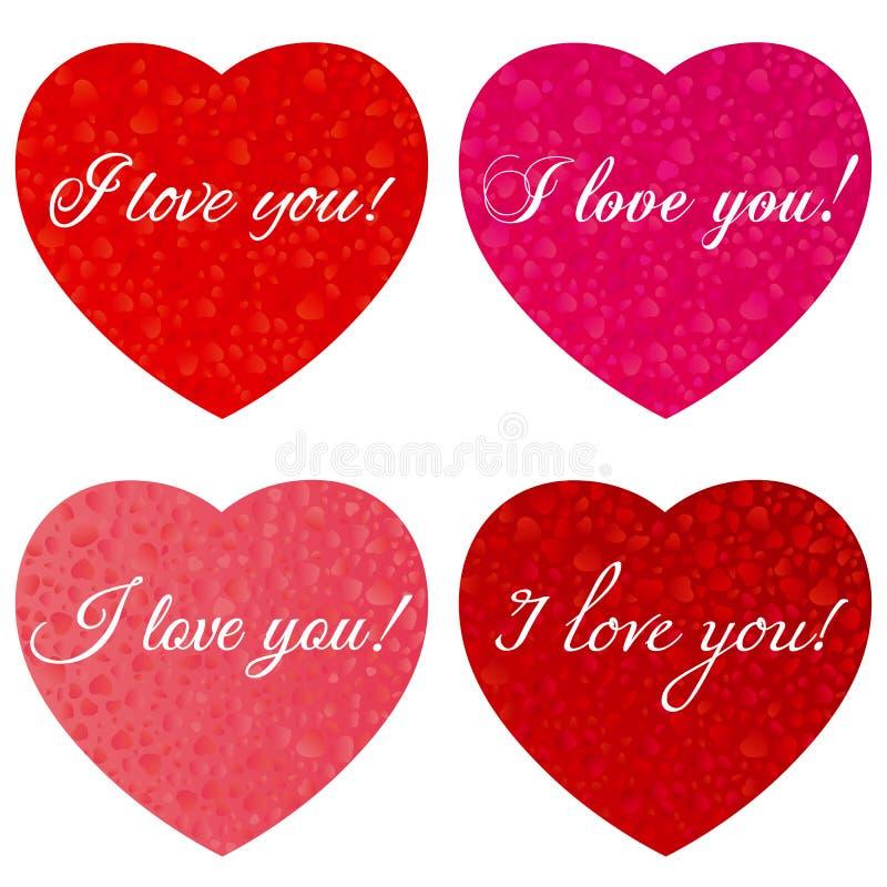 日愉快的s华伦泰 一套与题字的心脏-我爱你-对情人节 图库摄影
