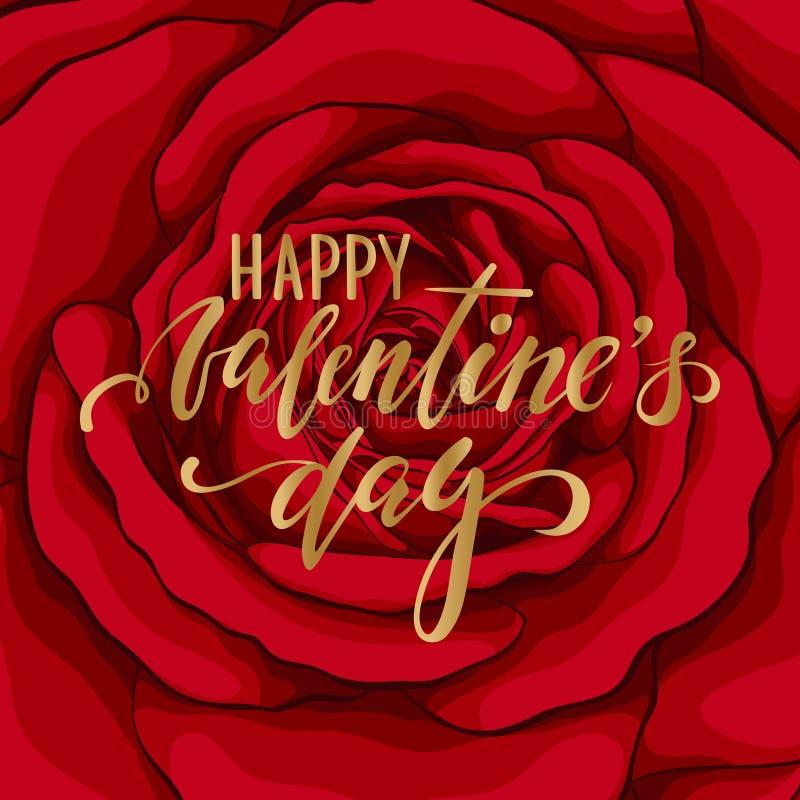 日愉快的s华伦泰 在背景花红色玫瑰的手拉的刷子笔字法 设计假日贺卡和邀请 皇族释放例证