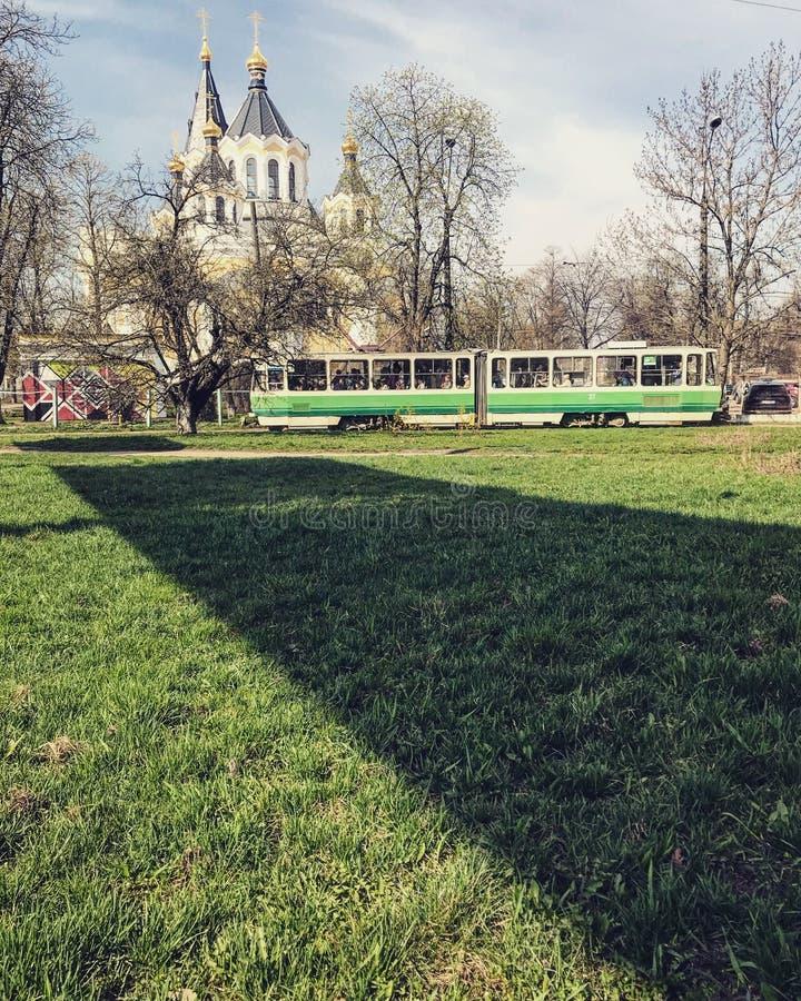 日托米尔-乌克兰-欧洲著名的绿色电车  免版税图库摄影