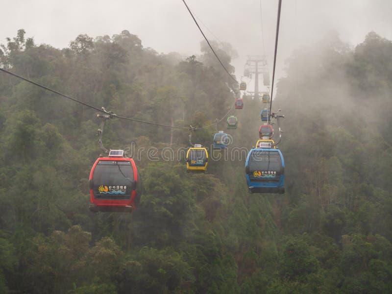 日月潭索道,一风景长平底船五颜六色的电车,移动通过山在下雨天 免版税库存图片