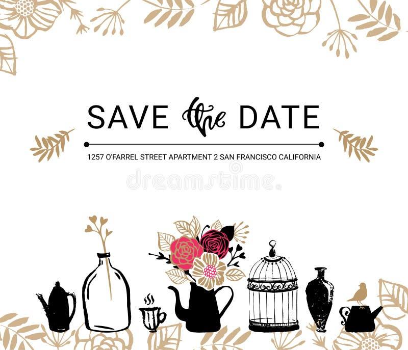 日期保存 与花束,鸟的婚礼邀请花卉卡片 向量例证