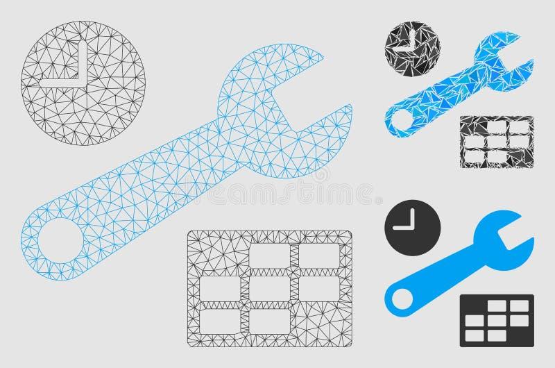 日期和时间设定传染媒介滤网尸体模型和三角马赛克象 向量例证