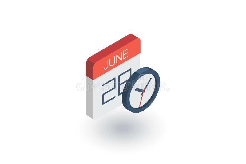 日期和时间、日历和时钟等量平的象 3d向量 向量例证