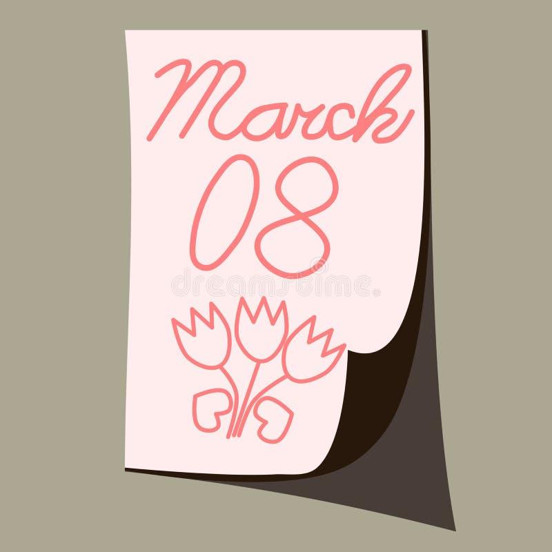日期3月8日在纸片用手笨拙地写的 库存例证