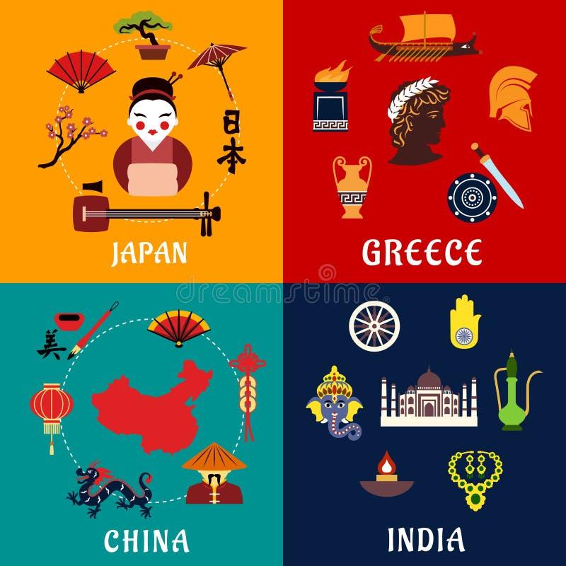 日本、中国、印度和希腊旅行象 库存例证