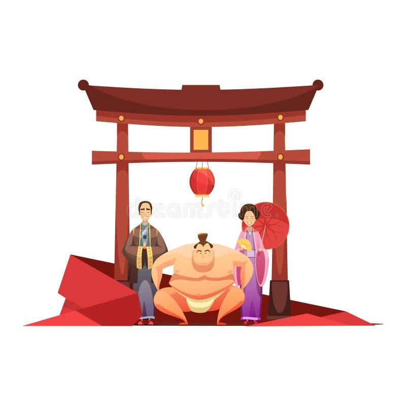 日本与塔的文化减速火箭的构成 库存例证