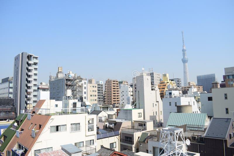 日本东京概要、精妙的现代建筑学屋顶和skytree耸立 免版税图库摄影