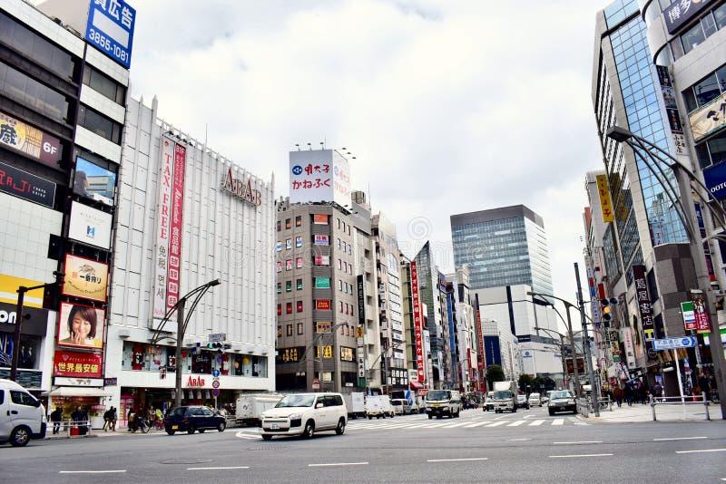 日本东京的街景画 免版税库存照片