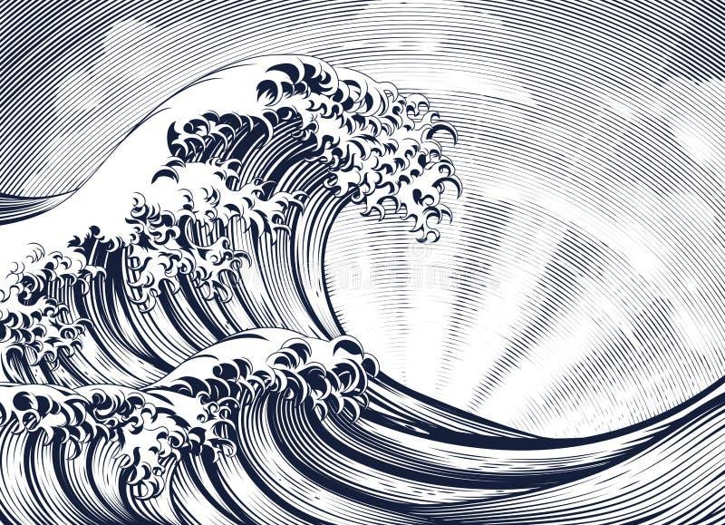 日本东方波浪蚀刻被刻记的木刻 向量例证