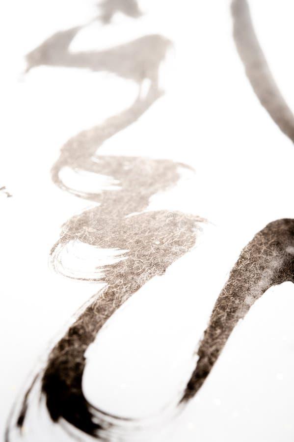 日本书法和白色浪花纹理  库存照片