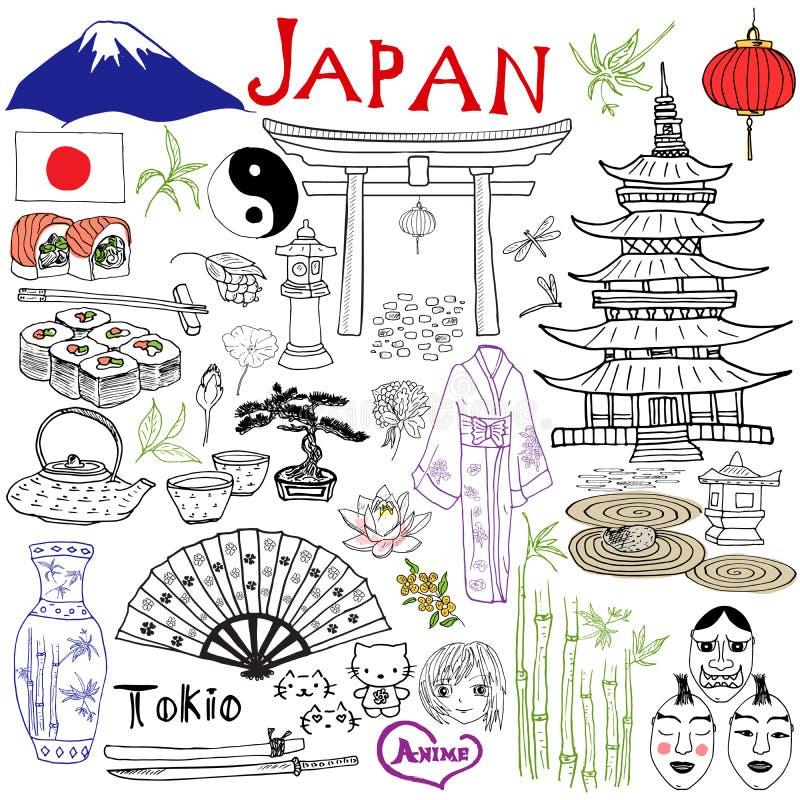 日本乱画元素 与Fujiyama山、神道的信徒的门、日本食物寿司和茶具,爱好者,剧院面具, k的手拉的集合 向量例证
