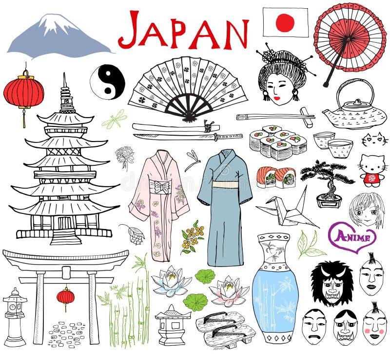 日本乱画元素 手拉的剪影设置了与Fujiyama山、神道的信徒的门、日本食物寿司和茶具,爱好者,剧院m 库存例证
