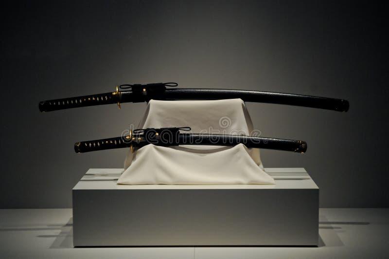 日本人日本刀武士长的剑 图库摄影