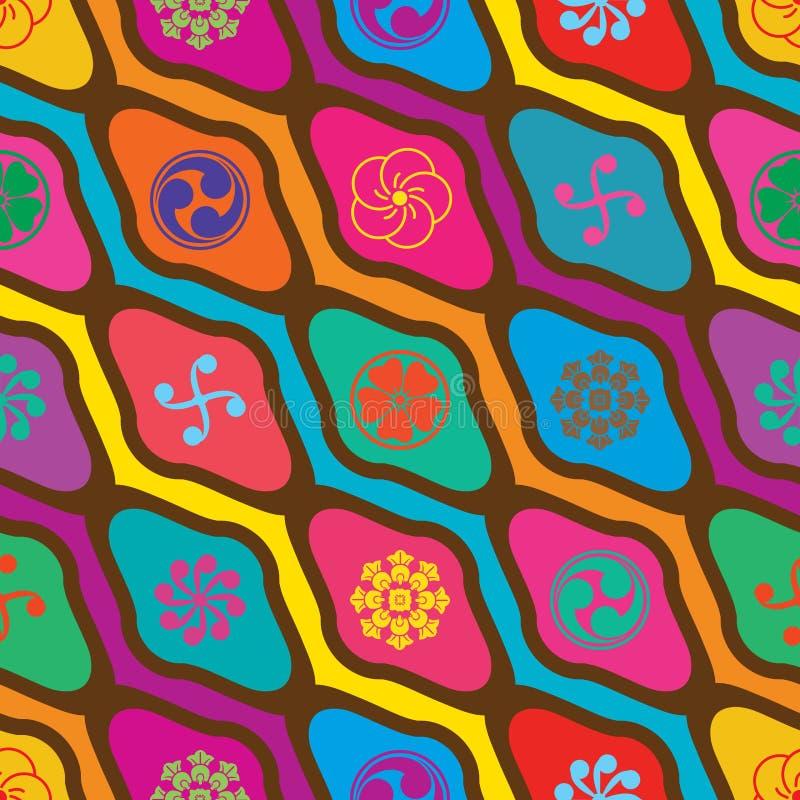 日本人星期一金刚石形状对角五颜六色的无缝的样式 皇族释放例证