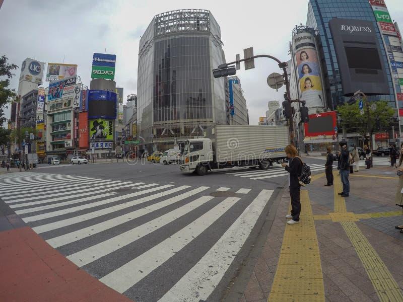 日本人等待信号穿过路 免版税库存照片