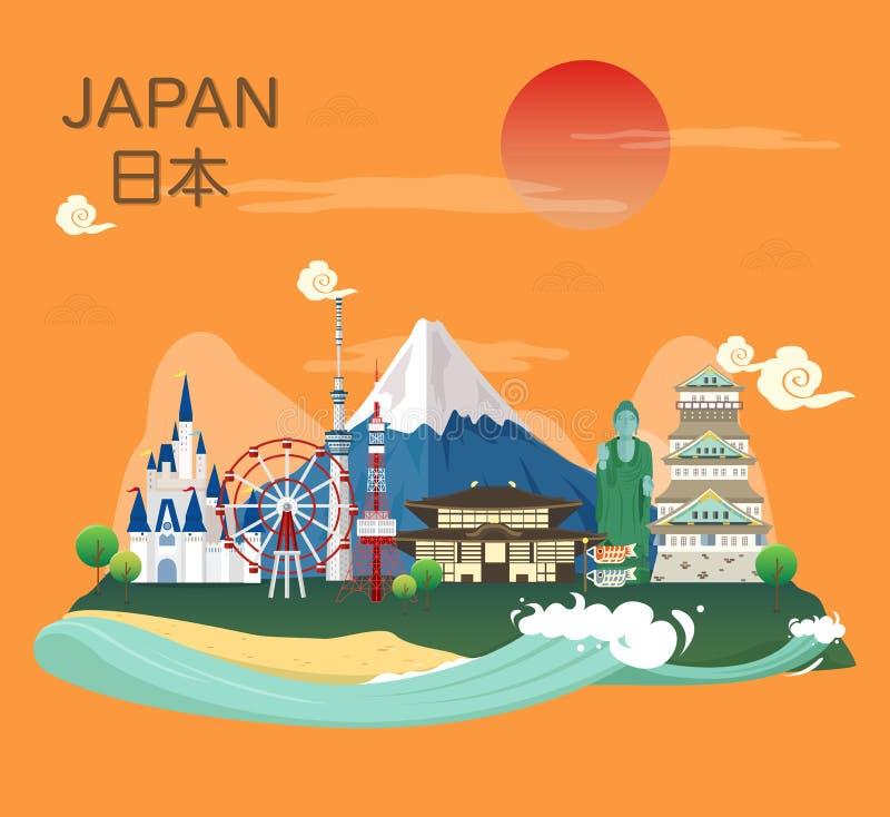 日本人著名地标和旅游胜地在日本illus 库存例证