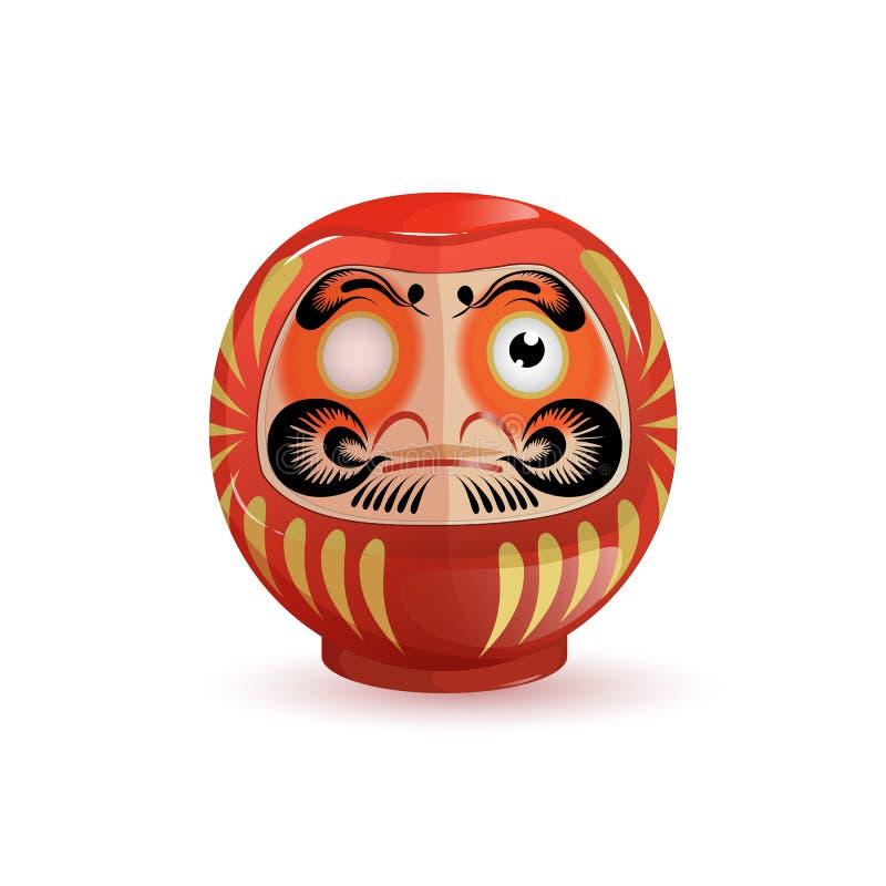 日本人Daruma玩偶 背景例证鲨鱼向量白色 动画片样式 皇族释放例证