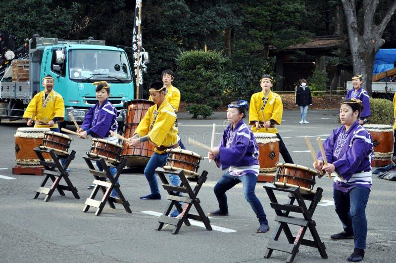 日本人Taiko鼓手在东京日本 免版税库存照片