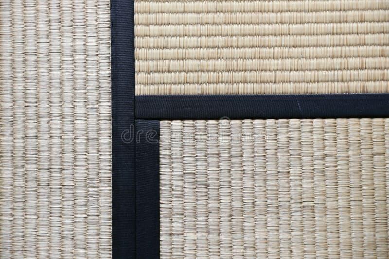 日本人Tatami与三Tatamis加入的地毯背景 免版税库存照片