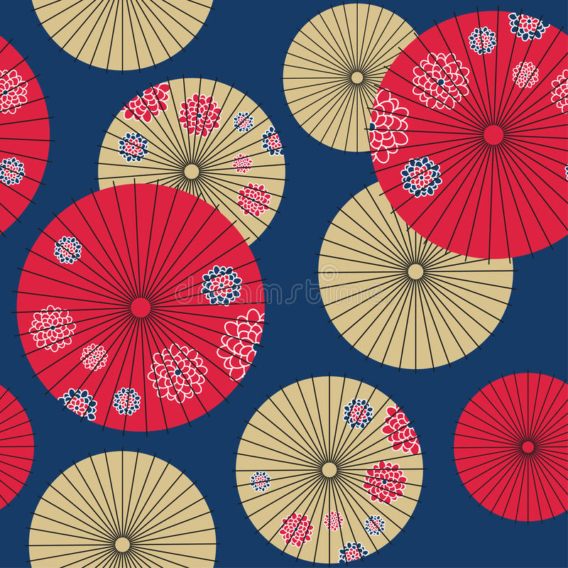 日本伞无缝的样式 皇族释放例证