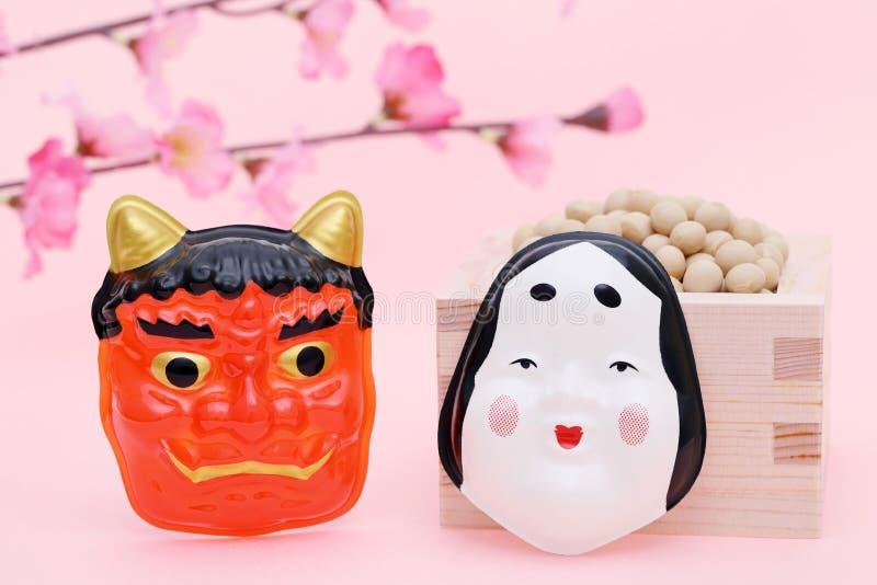 日本传统事件、大豆和面具 库存照片