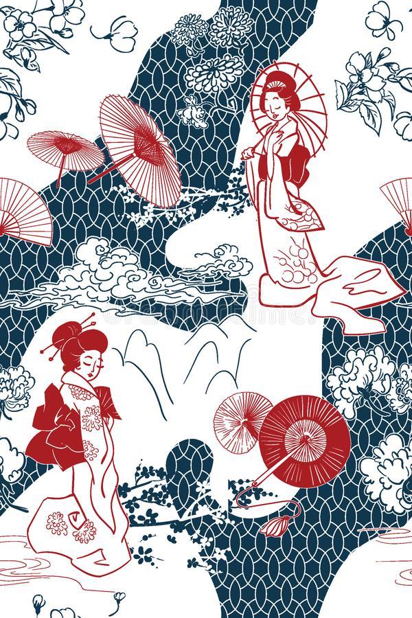 日本传统传染媒介例证oruental背景样式 免版税库存照片