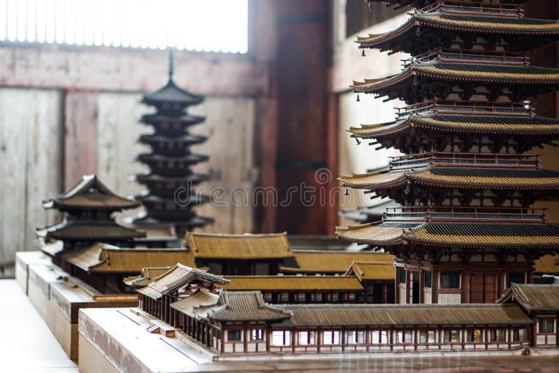 日本传统房子住宅寺庙塔模型 免版税库存图片