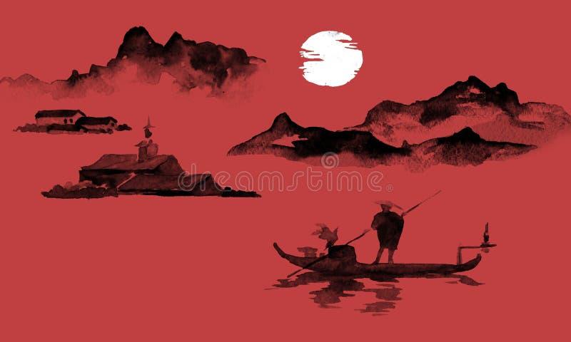 日本传统sumi-e绘画 墨汁例证 人和小船 大横向山山 日落,黄昏 日语 向量例证