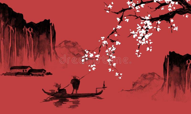 日本传统sumi-e绘画 墨汁例证 日本图片 人,小船,佐仓,山 库存例证