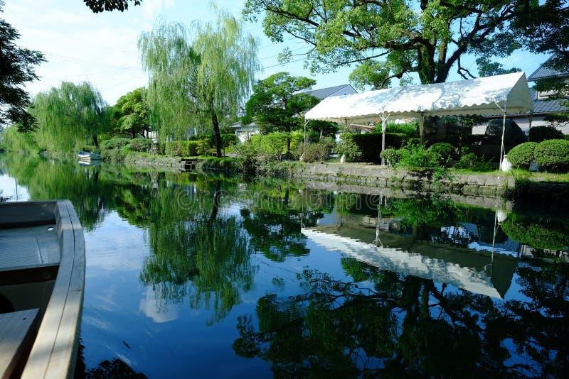 日本传统水运河镇柳川 库存照片
