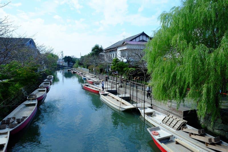 日本传统水运河镇柳川 库存图片