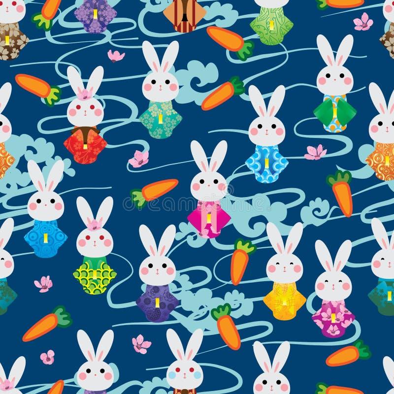 日本兔子和服樱桃红萝卜云彩样式无缝的样式 向量例证