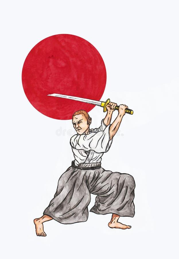 日本剑战斗机和日本红色朝阳亚洲II的精神, 2018年 皇族释放例证