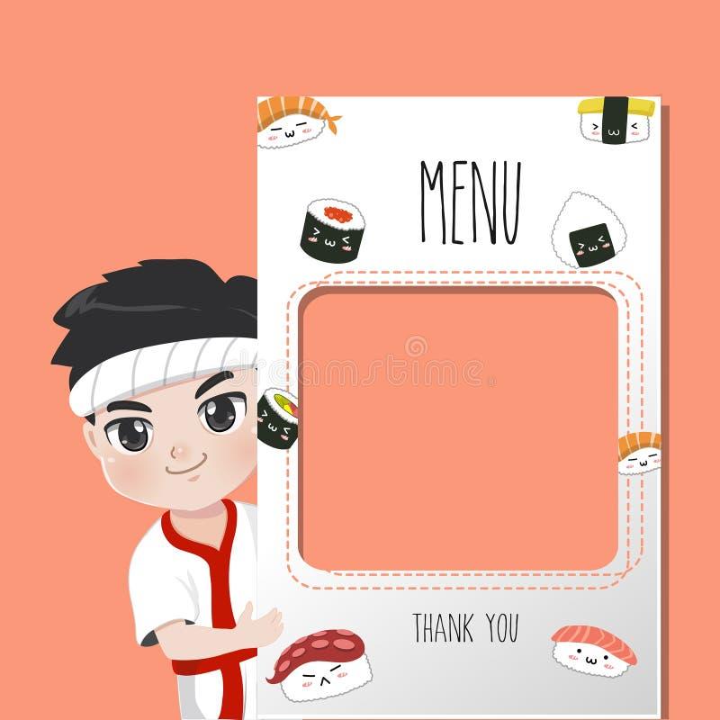 日本厨师可口菜单的寿司许多样式 向量例证