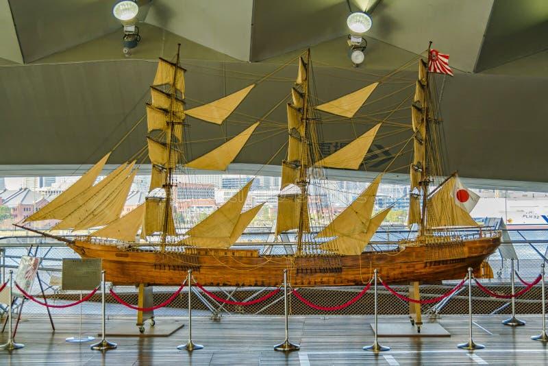 日本古色古香的小船模型 库存照片