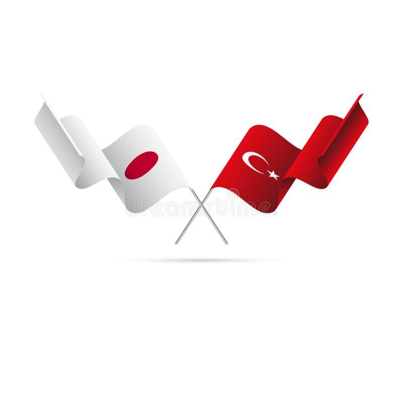 日本和土耳其旗子 也corel凹道例证向量 向量例证
