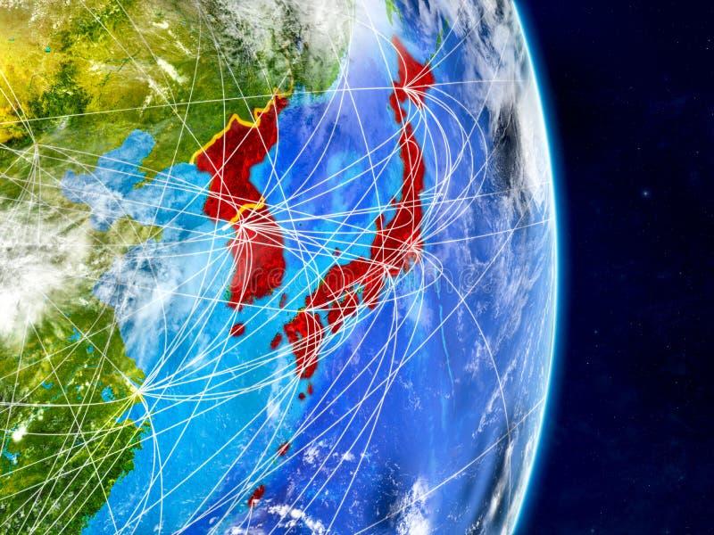 日本和韩国行星地球上与网络 极端详细的行星表面和云彩 3d例证 此的要素 库存例证