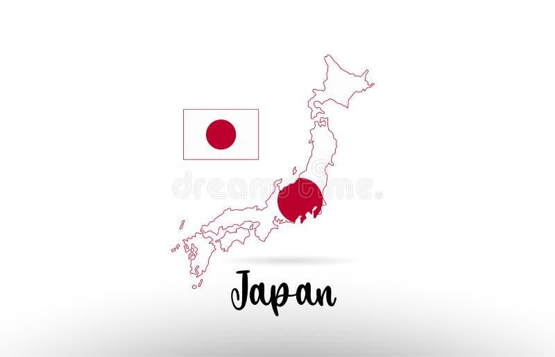 日本在地图等高设计象商标里面的国旗 皇族释放例证