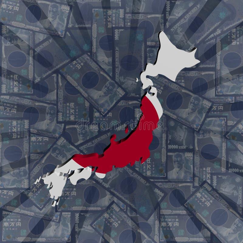 日本在日元爆炸例证的地图旗子 向量例证