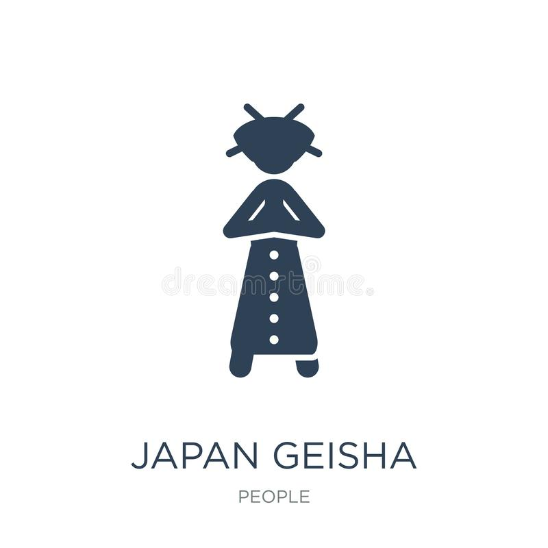 日本在时髦设计样式的艺妓象 日本在白色背景隔绝的艺妓象 日本艺妓简单传染媒介的象和 皇族释放例证