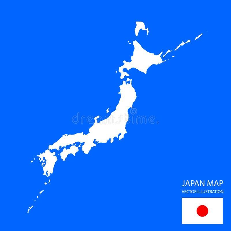 日本地图和旗子,传染媒介例证,日本疆土详述了地图,原始的国旗 向量例证