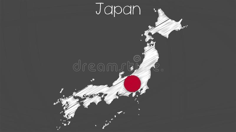 日本地图旗子例证 库存例证