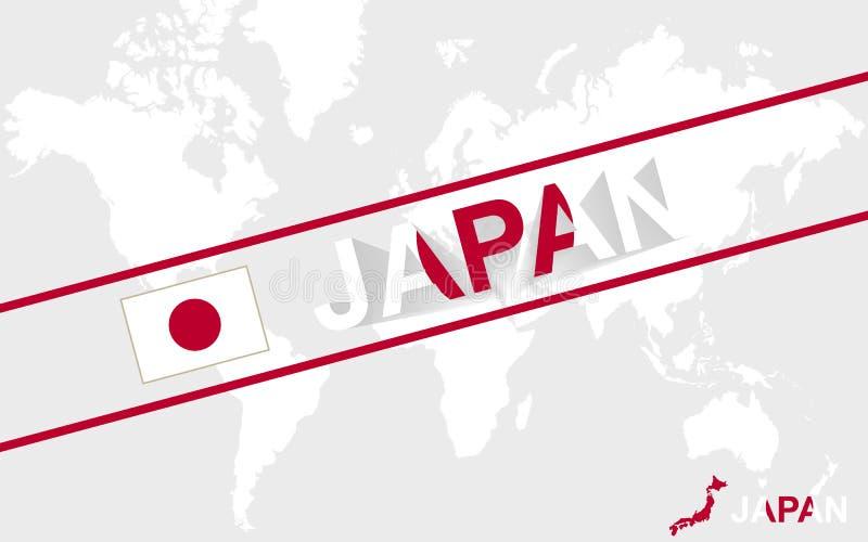 日本地图旗子和文本例证 皇族释放例证