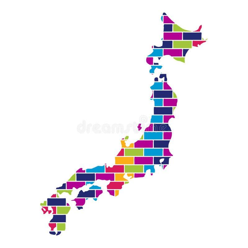 日本地图有多色的砖样式墙壁纹理背景 库存例证