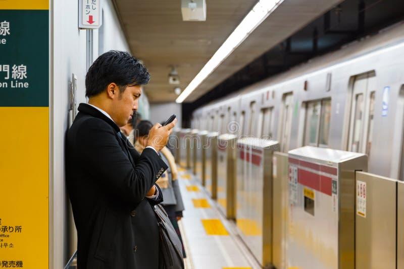 日本地铁通勤者 免版税库存图片