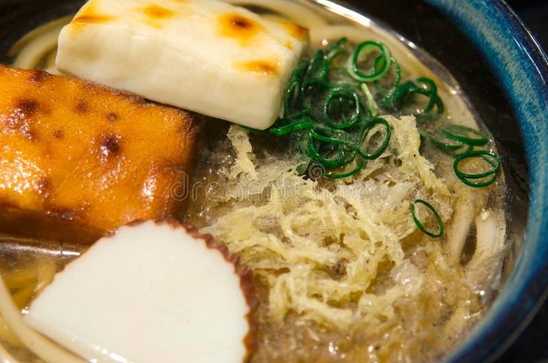 日本塑料食物显示,与Oden的乌龙面 免版税图库摄影